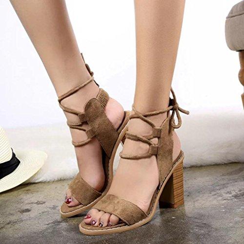 Saingace Frauen Casual Chunky High Heel Sandalen Open Toe Knöchel Strap Sandalen Pumps Schuhe Braun