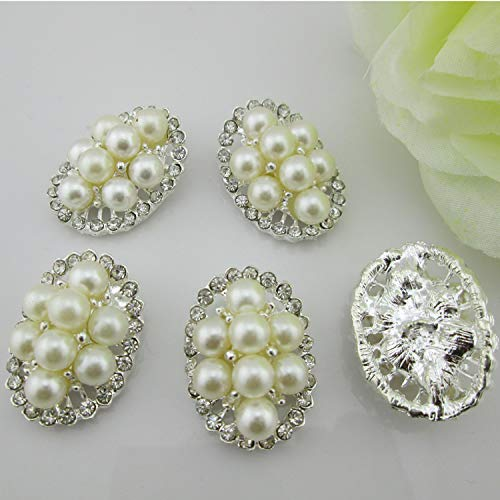 Maslin (BT56 2027mm)10pcs Clear Rhinestone Faux Pearl Flower Shank Buttons Sewing Craft Embellishment
