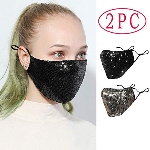 FDBZJP 2PCS Face Cover, Reusable Cotton Face Covering Anti-Dust Face Bandana with Fashion Rhinestone Diamonds Sequins Design Halloween Masquerade Full Mouth Covers