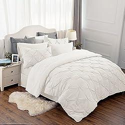 "Bedsure 8 Piece Comforter Set Ivory Full Queen Size (88""X88"") Pinch Pleat Down Alternative BED IN A BAG (Comforter,2 Pillowshams, Flat Sheet, Fitted Sheet, Bed Skirt,2 Pillowcases)"