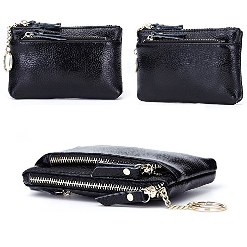 2997d522b806 Galleon - Aladin Leather Coin Purse With Key Chain - Triple Zipper Card  Holder Wallet Black