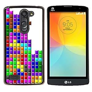 EJOOY---Cubierta de la caja de protección para la piel dura ** LG L Prime D337 / L Bello D337 ** --Tetris juego de ordenador colorido Arte Moderno