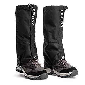 Peiling Leg Gaiter Waterproof, Durable and Easy Cleaning, Front Velcro Open Easy On Off, Fit for Kids Men and Women, for Hiking,Backpacking,Mountaineering,Snowsports and Ice Climbing