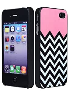 Bastex Hard Case for Apple iPhone 4, 4s - Powder Pink with Black & White Chevron Pattern