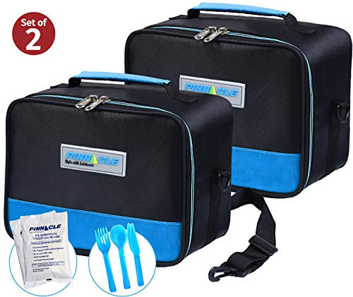 PINNACLE Insulated Reusable Lunch Box, Thermal Lunch Tote, For Adults and Kids - Lunch Bag With BONUS GEL ICE PACK And MATCHING CUTLERY - 2 Way Zipper - Set of 2 (2 Blue) ()