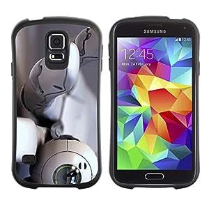 LASTONE PHONE CASE / Suave Silicona Caso Carcasa de Caucho Funda para Samsung Galaxy S5 SM-G900 / Robot Eye Eyeball Hand White Technology Spy
