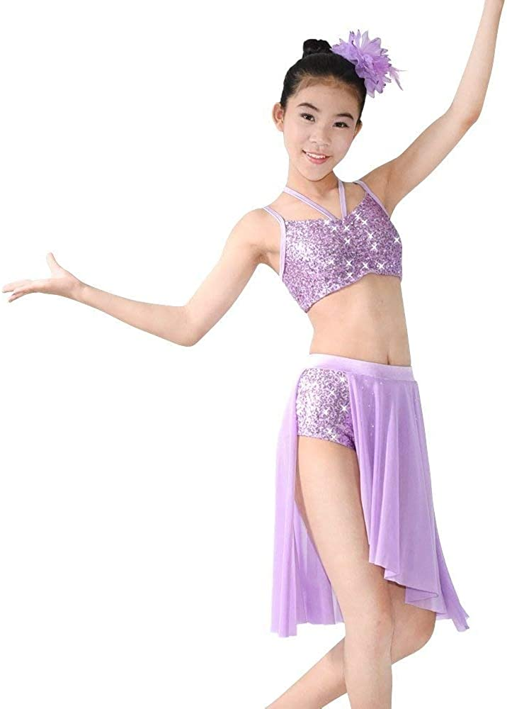 UK Kids Girls Lyrical Latin Dance Dress Ballet Ballroom Dress Tutu Skirt Costume