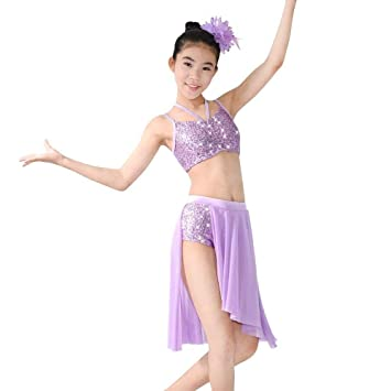 c3a22e015a MiDee 2 Pieces Camisole Sequins Lyrical Latin Dress Dance Costume (Lilac,  MC)