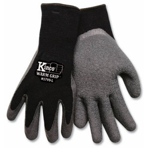 KINCO 1790-M Men's Warm Grip Thermal Lined Latex Coated Gloves, Medium, Black/Gray