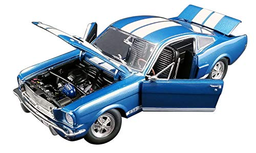 Stripes Limited Edition - 1966 Ford Mustang Shelby GT350 Supercharged Blue with White Stripes Limited Edition to 852 Pieces Worldwide 1/18 Diecast Model Car by ACME A1801834