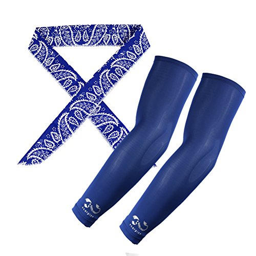 2351a8cdfe The Elixir Scorpion UV Protective Compression Arm Sleeves Coolers with Ice  Chill Cooling Scarf Headband Set