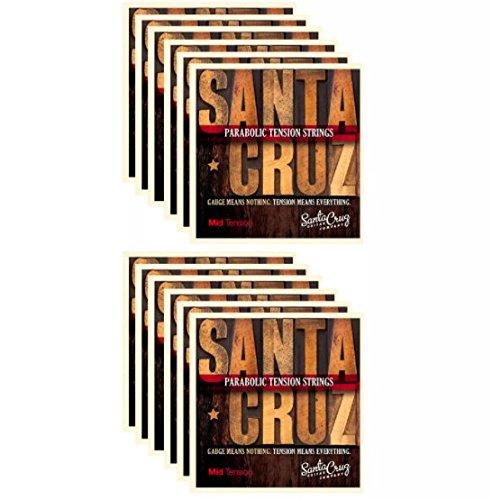 Santa Cruz Parabolic Tension Acoustic Guitar Strings Mid Tension (12 Pack) by Santa Cruz