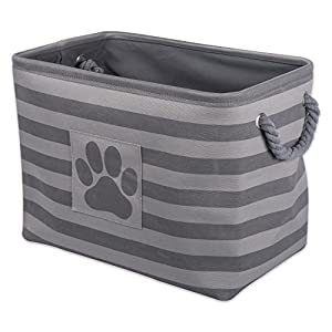 Bone Dry DII Small Rectangle Pet Toy and Accessory Storage Bin, 14x8x9, Collapsible Organizer Storage Basket for Home Décor, Pet Toy, Blankets, Leashes and Food-Gray Stripes
