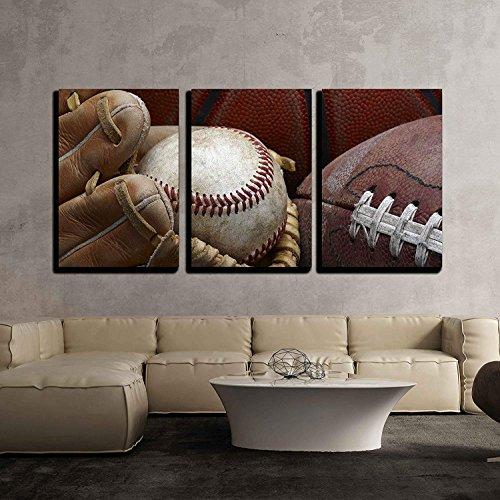 Close Up Shot of Well Worn Baseball in Baseball Glove Football and Basketball x3 Panels