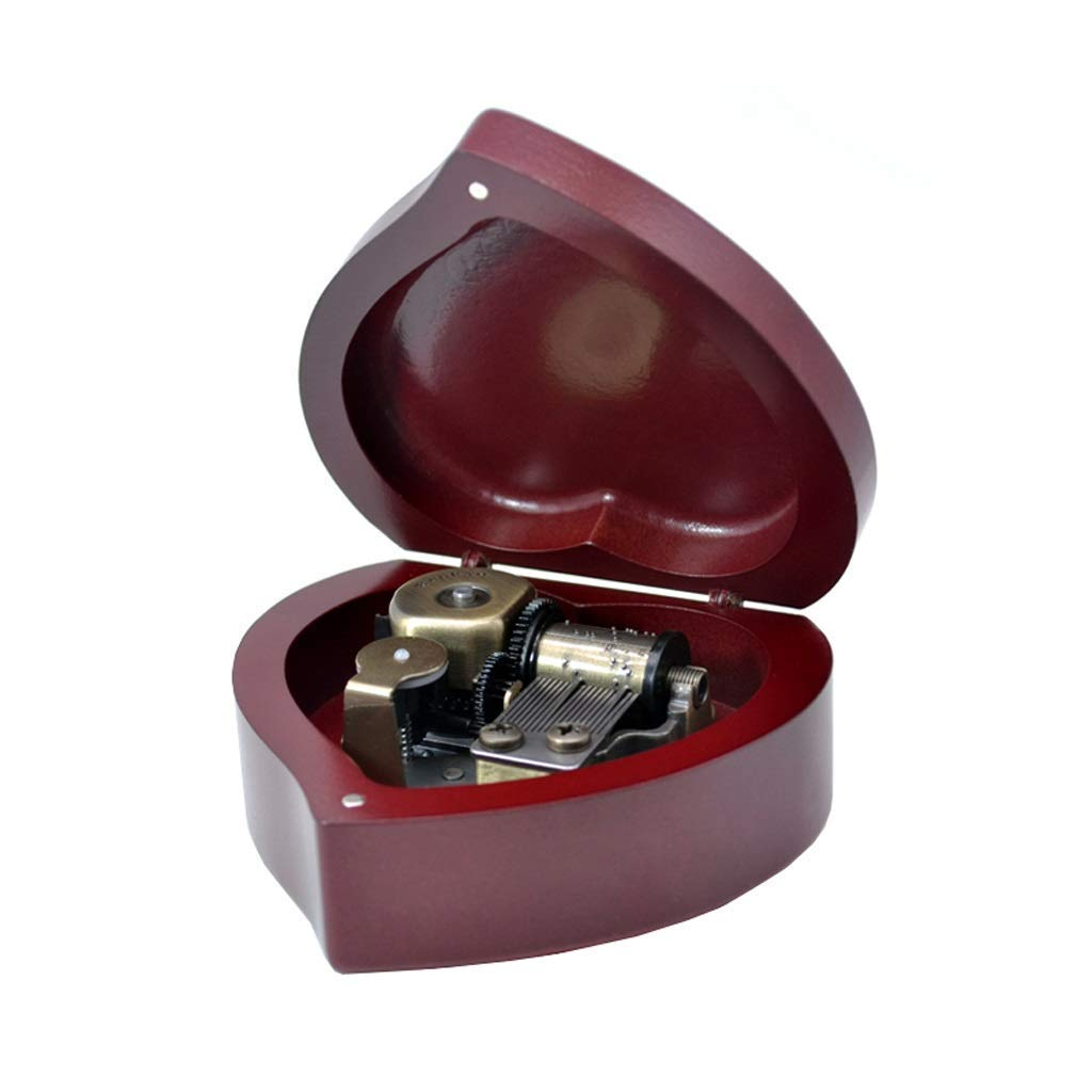 Redmerry Christmas ZHAS Creative Birthday Music Box Music Box Wooden Music Box Heart Shape (color  PinkMerry Christmas)