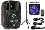 Alphasonik 8' Powered 1200W PRO DJ Amplified Loud Speaker Bluetooth USB SD Card AUX MP3 FM Radio PA System LED Ring Karaoke Mic Main Monitor, Band Church, Party, Guitar Amp, Home, BBQ w/ Tripod Stand