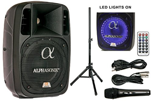 Alphasonik 8' Powered 1200W PRO DJ Amplified Loud Speaker Bluetooth USB SD Card AUX MP3 FM Radio PA...