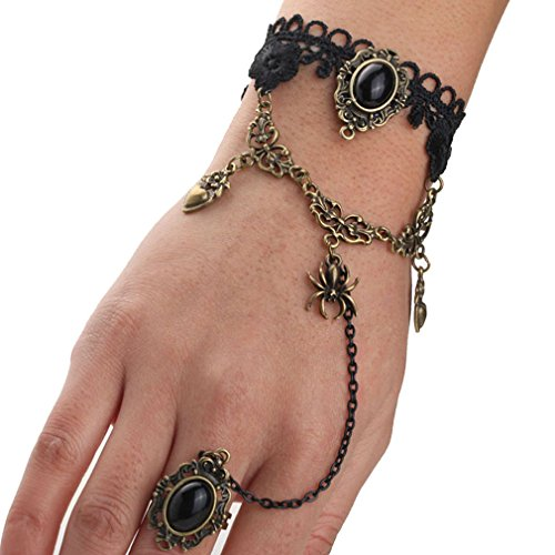 Yazilind Black Lace Slave Bracelets Ring Lolita Acrylic Beads Heart Spider Metal Chain