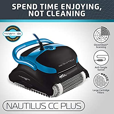 Dolphin Nautilus CC Plus Automatic Robotic Pool Cleaner with Easy to Clean Large Top Load Filter Cartridges and Tangle-Free Swivel Cord, Ideal for In-ground Swimming Pools up to 50 Feet. by Maytronics - Pool