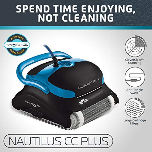 "{     ""DisplayValue"": ""Dolphin Nautilus CC Plus Automatic Robotic Pool Cleaner with Easy to Clean Large Top Load Filter Cartridges and Tangle-Free Swivel Cord, Ideal for In-ground Swimming Pools up to 50 Feet."",     ""Label"": ""Title"",     ""Locale"": ""en_US"" }"