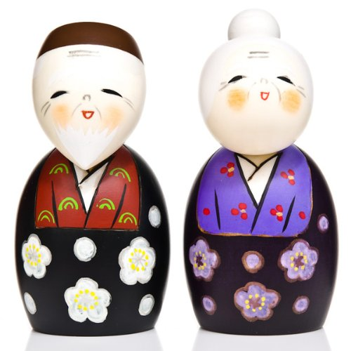 Large Happy Life Together Wooden Kokeshi Doll Set The Japanese Shop