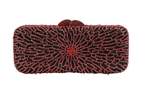 Yilongsheng Abbagliante Borsa Lunga Festa Signora Quadrata Con Strass (rosso)
