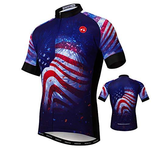 (USA Cycling Jersey Men Men's Bike Shirt Short Sleeve Tops, S-XXXL, More Breathable, Lycra Cuffs,Reflective)