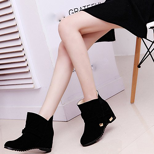 Little Casual Shoes Black Tie Bow Ankle Boots Boots Boots Skidproof Women Sole Hatop Rubber Women 7XwqE4U