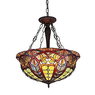 "Chloe Lighting CH36475RV22-UH3 Tiffany Lori, Tiffany-Style 3 Light Victorian Inverted Ceiling Pendant Fixture 22"" Shade, Multi"