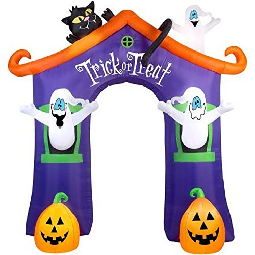 Gemmy Airblown Inflatable 9' X 8.5' Archway Ghost House Halloween Decoration ()