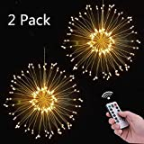 Firework Fairy Light, Loowoko 120 LED 8 Modes Dimmable Decorative Fairy Lights Starburst Copper Wire Twinkle Light with Remote Control for Indoor Outdoor Garden Wedding Christmas Party De