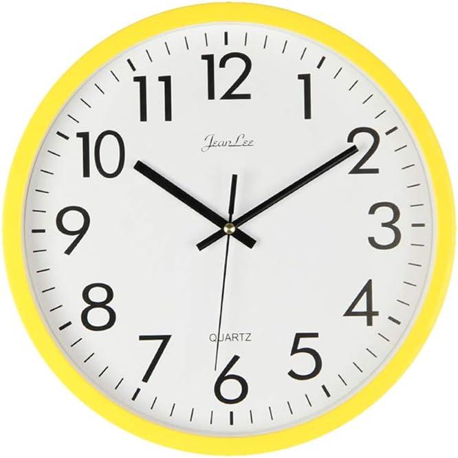 Vosarea - Reloj de Pared analógico de Cuarzo, de plástico, silencioso, Color Amarillo