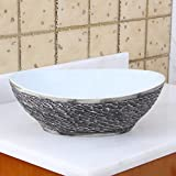 Elite Vessel Sink ELITE Oval Gray and White Porcelain Ceramic Bathroom Vessel Sink