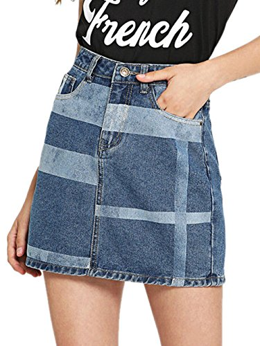 (SheIn Women's Casual Mid Waist Color Block Denim Skirt with Pockets Blue X-Large)