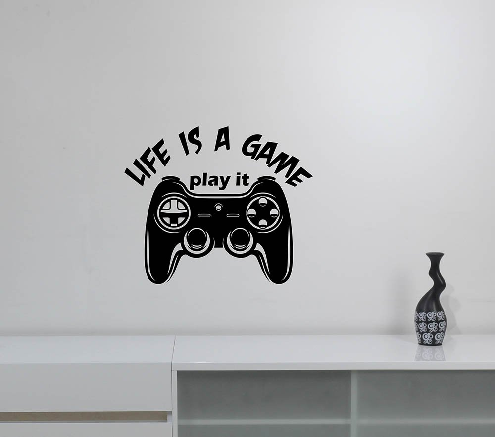 Life is a Game Wall Decal Gamer Video Gaming Motivational Quote Vinyl Sticker Inspirational Art Gamepad Joystick Decorations for Home Kids Boys Room Bedroom Decor gm1