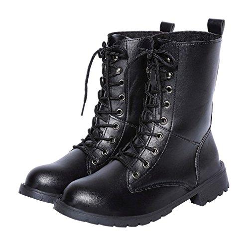 ENMAYER Mujer PU Material Lace-up Round Toe Flat Martin botas con botas de tobillo de invierno Negro