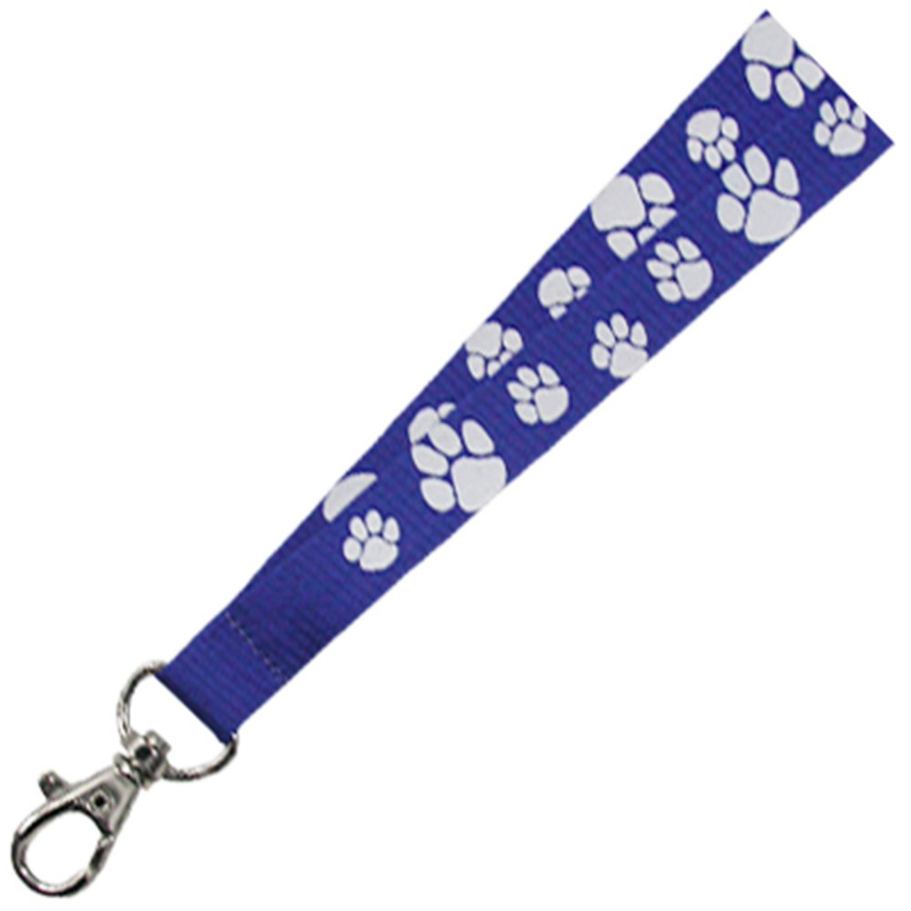 PinMarts Blue and White Paw Print School Mascot Sports Lanyard w/Safety Release by PinMart