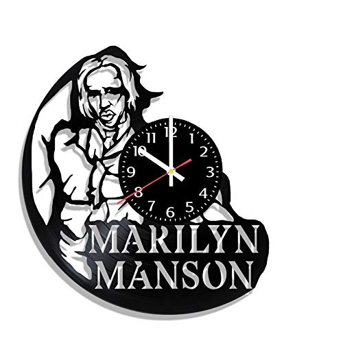 BombStudio Marilyn Manson Vinyl Record Wall Clock, Marilyn Manson Handmade for Kitchen, Office, Bedroom. Marilyn Manson Ideal Wall Poster -
