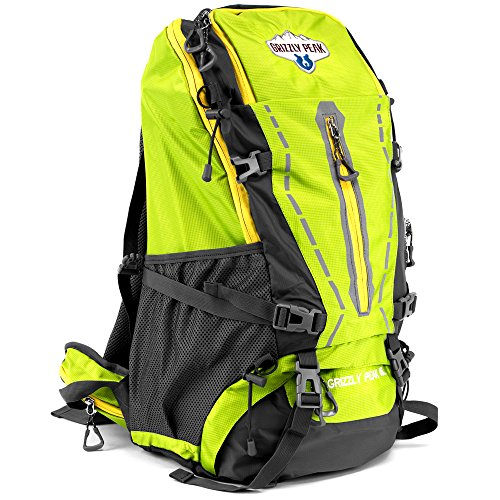 Nylon Ripstop Daypack (45L Internal Frame Hiking and Camping Daypack Backpack with Ripstop Water-Resistant Nylon by Grizzly Peak (Lime))