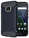 Moto G5 Plus Case, TUDIA Carbon Fiber Design Lightweight [TAMM] TPU Bumper Shock Absorption Case for Motorola Moto G5 Plus (Navy Blue)