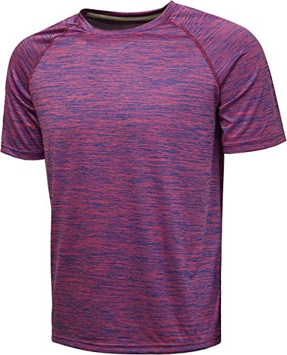 Loose Training Top - Komprexx Sport T-Shirts for Men - Quick Dry Wicking - Running Tops Training Tee Short Sleeve Sportswear(Rose,M)