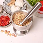 Bekith Brushed Stainless Steel Mortar and Pestle/Spice Grinder/Molcajete 11 Double 304 stainless steel construction, heavy and durable Functional Design with Non-Skid Base, Heavy-Duty Pestle Press Patent Pending & Copyright Protected