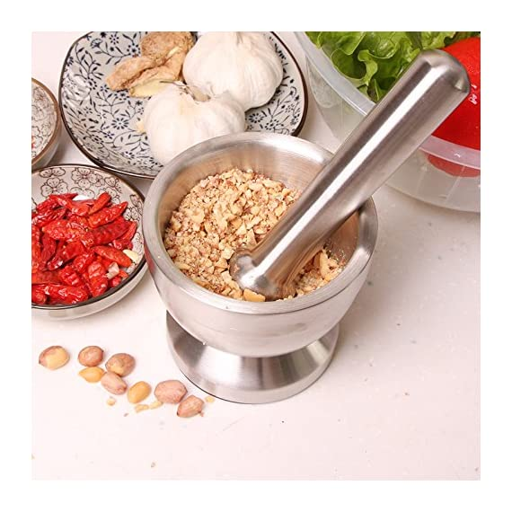 Bekith Brushed Stainless Steel Mortar and Pestle/Spice Grinder/Molcajete 5 Double 304 stainless steel construction, heavy and durable Functional Design with Non-Skid Base, Heavy-Duty Pestle Press Patent Pending & Copyright Protected
