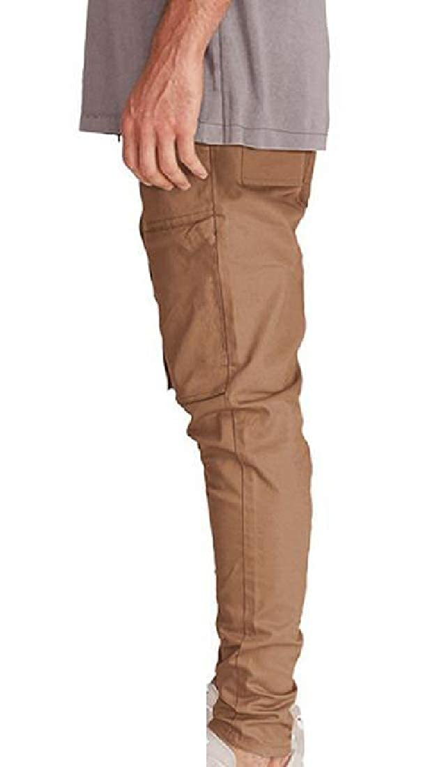 Winwinus Mens Patched Close-Bottom Regular-Fit Waist Tie Casual-Pants