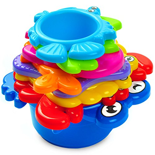 aGreatLife My First Stacking Cups: Best Educational Bath Toy for Babies and Toddlers - Fun and Brightly Colored Under the Sea Animals (Plastic Colored Tubs)