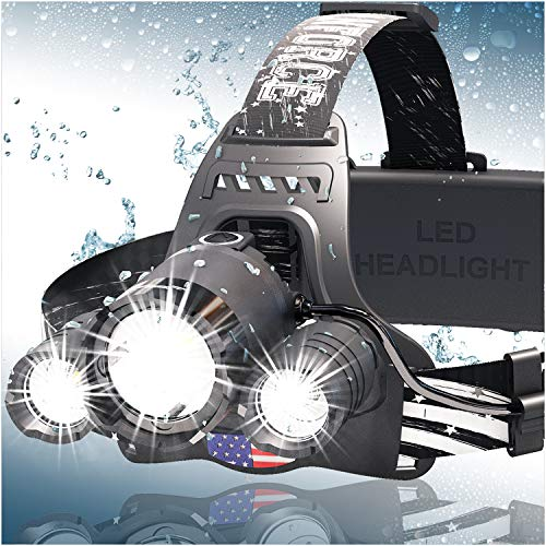 Headlamp, DanForce LED Headlamp Rechargeable 2019 Version, CREE 1080 Lumens Brightest Zoomable head lamp flashlight. Headlight USB Rechargeable, IPX45 HeadLamps. Best For Camping, Outdoors, Adults.