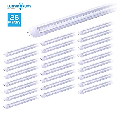 LUMINOSUM LED T8 Light Tube 4ft 22W (40W Equivalent) Dual-Ended Powered G13 Clear Cover Daylight 5500-6000, 25-Pack