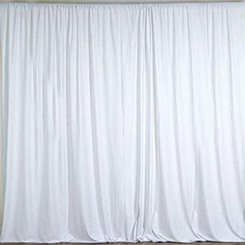 AK TRADING CO. 10 feet x 8 feet Polyester Backdrop Drapes Curtains Panels with Rod Pockets – Wedding Ceremony Party Home Window Decorations – White