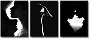"""Couple Bedroom Decor Wall Art Black and White Canvas Print Silhouette Romantic Kiss Painting Modern Artwork Home Decor for Bathroom Living Room Stretched Framed Ready to Hang 12""""W x 16""""H x 3 Panel"""