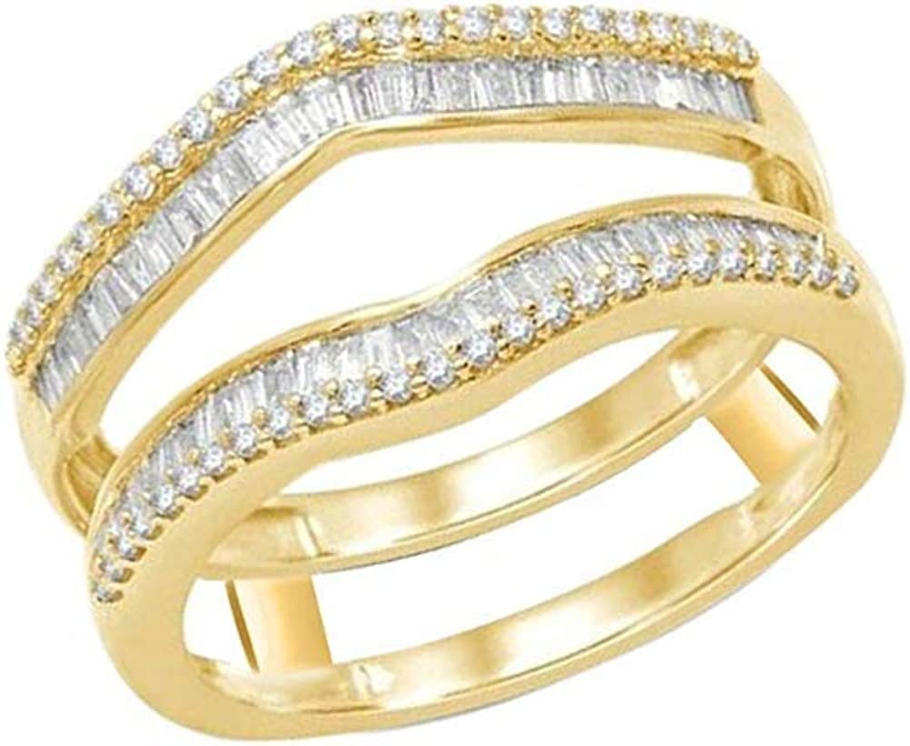 GomesJewels 0.50 CT Created Baguette & Round Cut Diamond 925 Sterling Silver Wrap Guard Ring Enhancer 14K Yellow Gold Finish for Women's